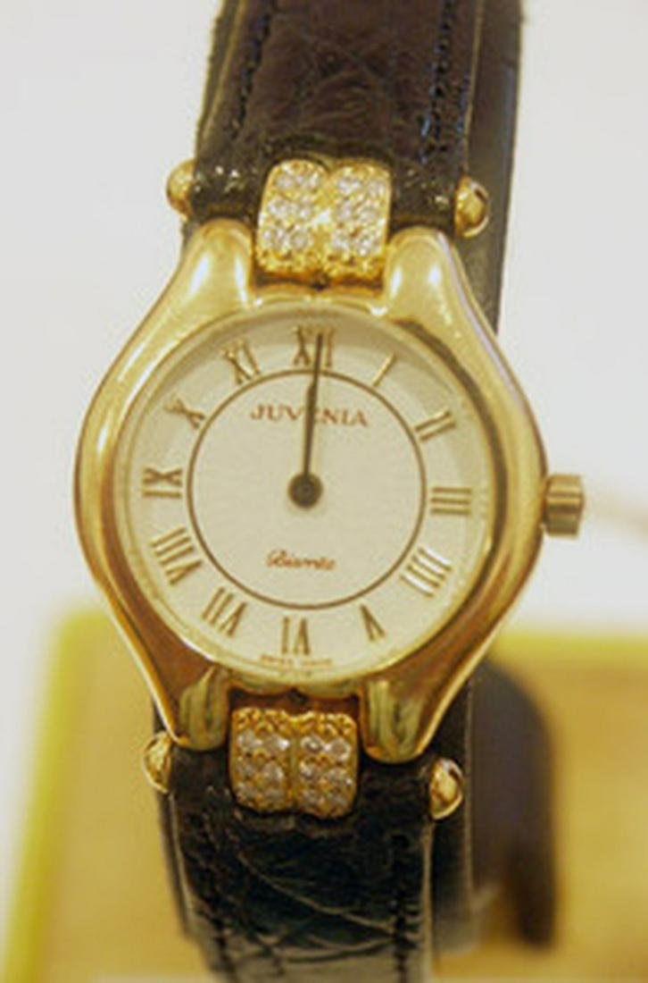 New 18k Gold JUVENIA Ladies watch with 0.24 ct Diamonds