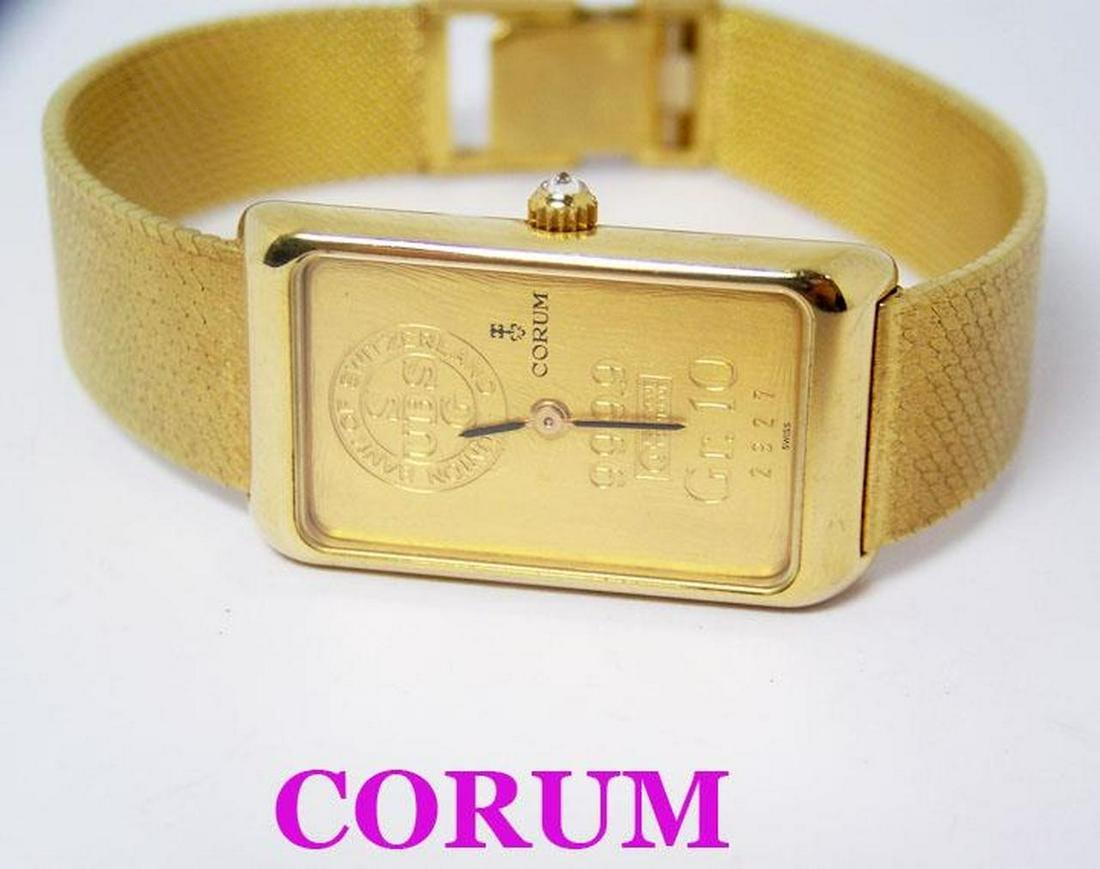18k CORUM Ladies Winding Watch with 24K INGOT BAR 10 GR