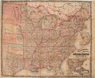 862 Colton Map of the United States -- Colton's New