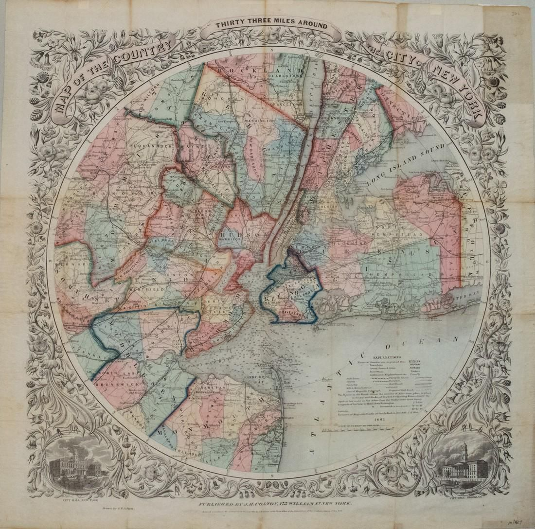 1846 Colton Map of the Area 33 Miles Around New York