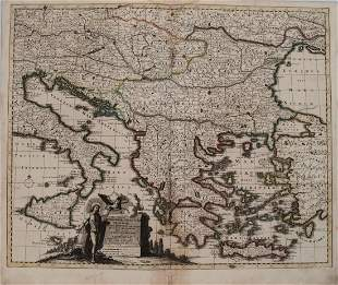 1730 Schenk Map of Hungary, Greece, Balkans and