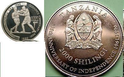 Ex.Rare 1996 Tanzania Silver 2000 s Piedfort(Doubl; e)