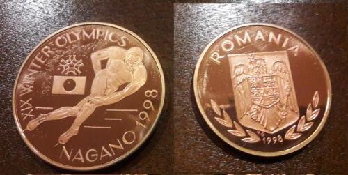 Rare 1998 Romania Copper 100 L Piedfort(doubl; e thick)