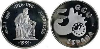 1991 Spain Large 42mm 1 OZ silver Proof 5 Ecu Averroes