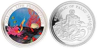 1994 Palau Large Color Silver $5 Fish/Neptune