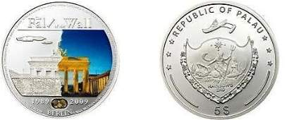 2009 Palau Large Proof Color Silver 5 Berlin Wall