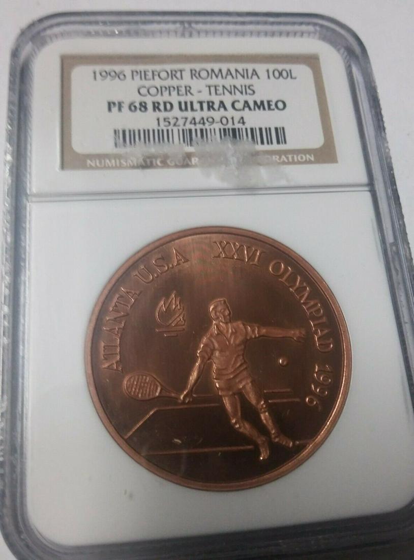 Rare 1996 Romania Copper 100 L Piedfort Pattern Olympic