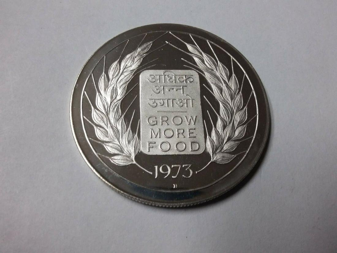 Rare 1973 India Large Silver Proof 20 Rupees FAO Grow