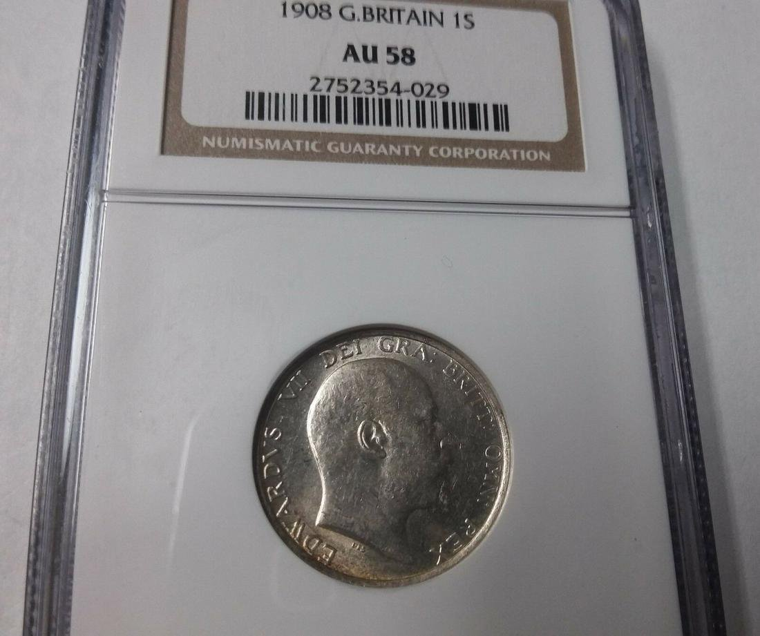 1908 Great Britain Silver Shilling-NGC AU 58