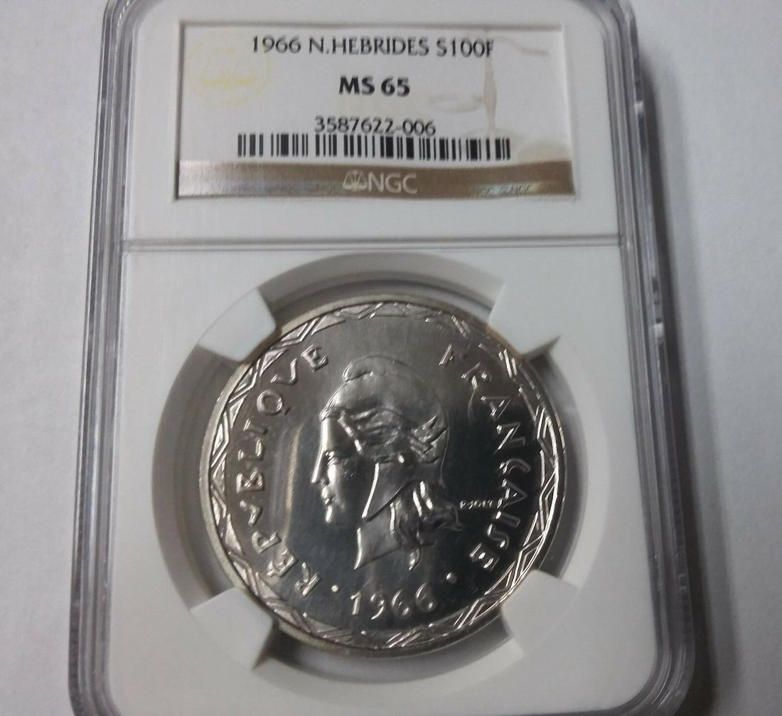 1966 New Hebrides Large Silver 100 Francs
