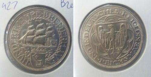 Rare 1927 Germany Large Silver 5 marks-Bremerha; ven-