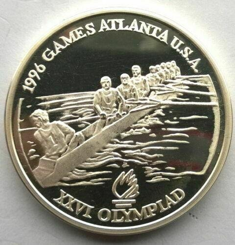 1996 Romania Large Silver Proof 100 Lei Olympic Rowing