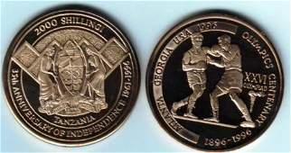 Rare 1996 Tanzania Cu/Ni 2000 s pattern Olympic Boxers