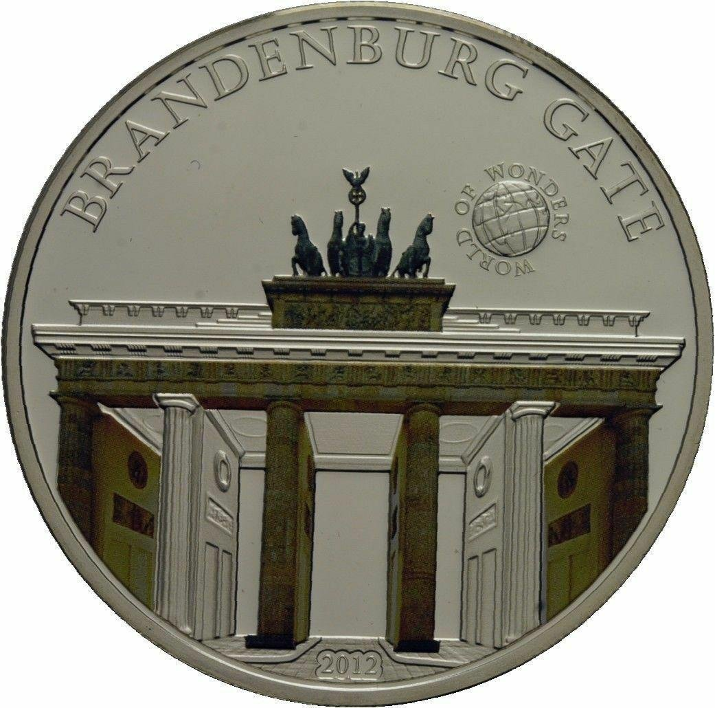 2012 Palau Large Silver Proof color $5 Brandenburg Gate