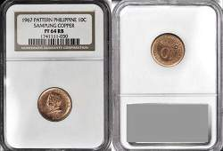 Rare 1967 Philippines 10 c Sampung pattern NGC PF 64