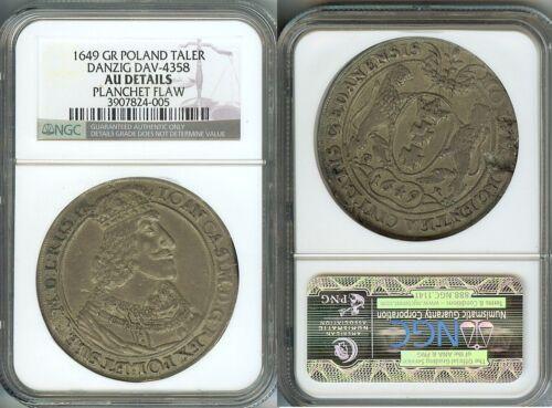 Rare 1649 Danzig Poland-Large Silver Taler NGC AU-Nice,