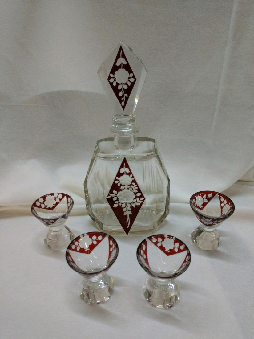 Karl Palda Ruby Cut-to-Clear Decanter with 4 glasses