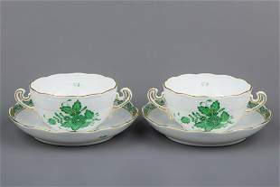 Pair of Herend Chinese Bouquet Green Cream Soup Bowls