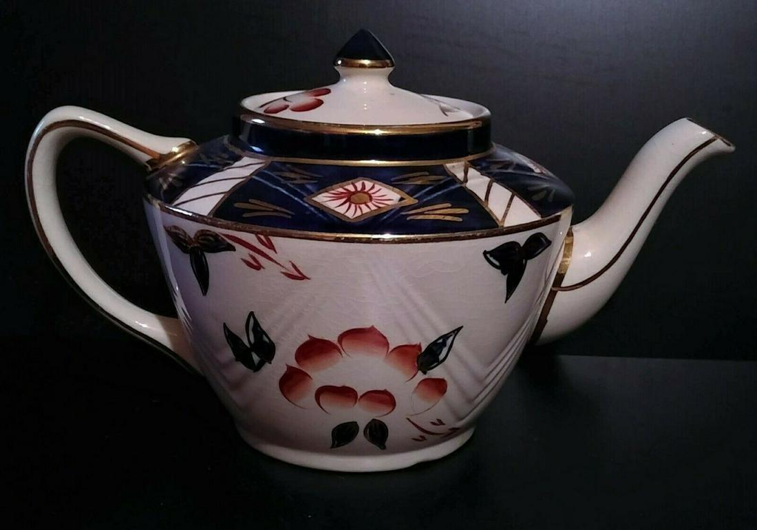 Sadler Ironstone Cobalt, Gold, and Red Floral Ceramic