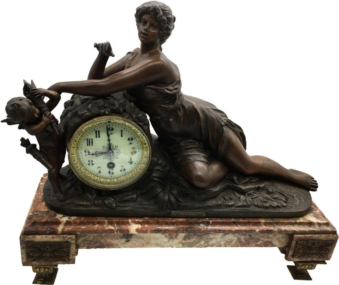 Patinated Metal and Marble Figural Mantel Clock