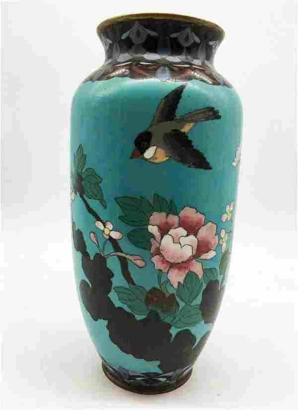 Porcelain vase made with cloisonne enamel technique