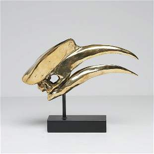 Finest detail bronzecast Great Hornbill Skull