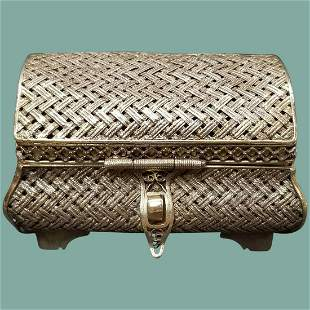 Imperial Russian Silver Gilt Woven Box