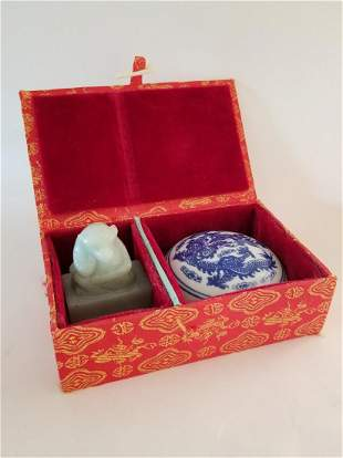 Chinese Jade Carved Chop With Ink Dish in Pegged Box