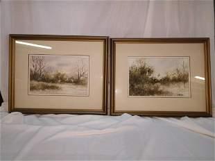 Pair of Bernard Vetter Watercolor Painting of water