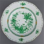 Herend Indian Basket Green Rim Soup Bowl #503/FV