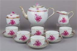 Herend Chinese Bouquet Raspberry Tea Set for Six