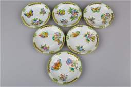 Set of Six Herend Queen Victoria Saucers #735/VBO