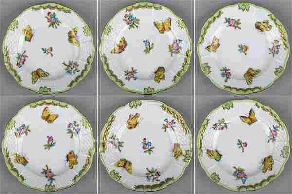 Set of Six Herend Queen Victoria Small Dessert Plates