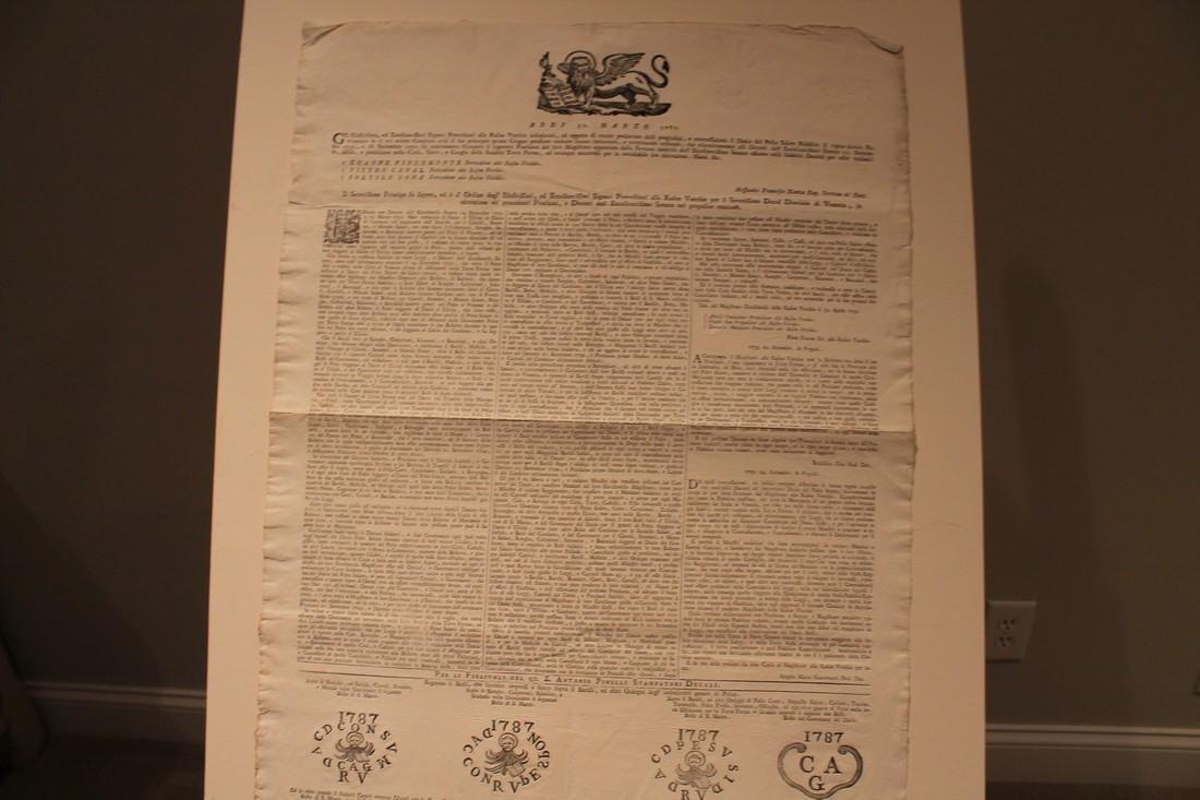 1787 Republic of Venice Document