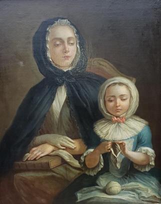 """C. A. Coypel""  Oil on Canvas ""Mending a Glove"""