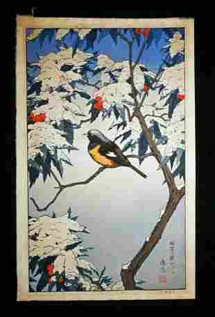 80s Japanese WB Print Birds of Winter Toshi Yoshida