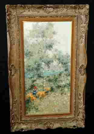 60s French Oil Painting Girls Pick Flowers A Gisson
