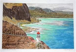 Hawaii WC Painting Makapuu Lighthouse L. Segedin