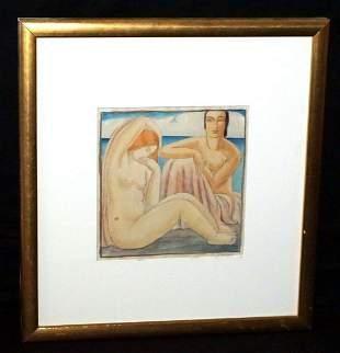 Belgium Painting 2 Female Nudes by Laura Turner