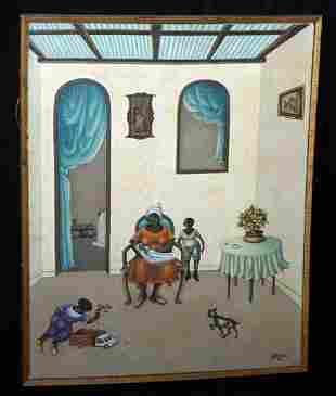 2 Haitian Painting Interior Scene Andre Blaise