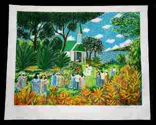 80s Hawaii Litho Print Kona Wedding by Guy Buffet