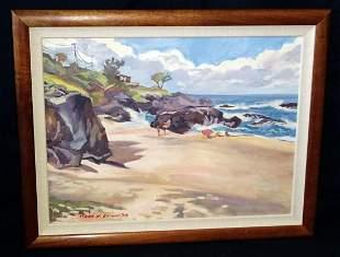 Koa Oil on Canvas Painting Lanikai Kailua Mark Brown