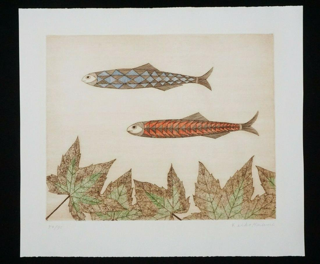 Vintage Japanese WB Print Two Fish Keiko Minami