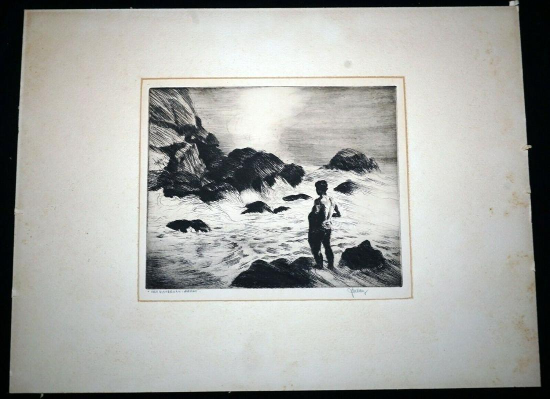 "30s Hawaii Etching ""Net Fisherman""John Melville Kelly"