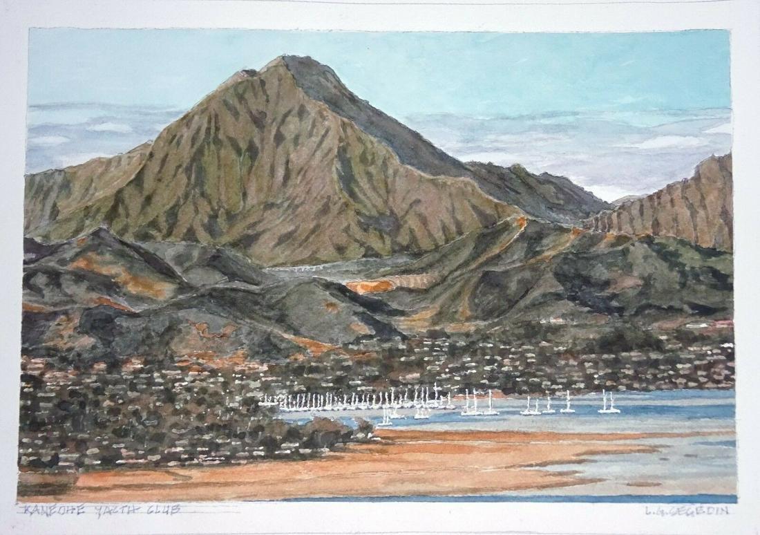 Hawaii Watercolor Painting Kaneohe Yacht Club L.