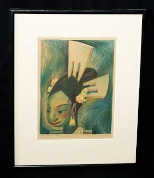 34 Mexico Hawaii Print Girl w. Combs Jean Charlot
