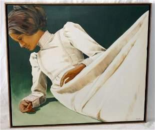 70s Hawaii Oil Painting Reclining Woman Niki Fuller