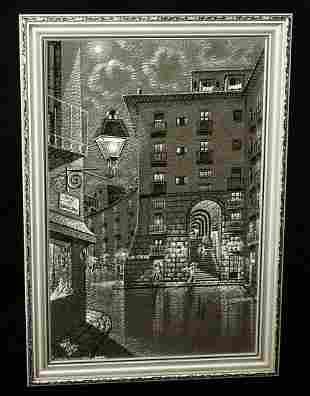 74 Painting Arco de Cuchilleros Madrid M Hidalgo