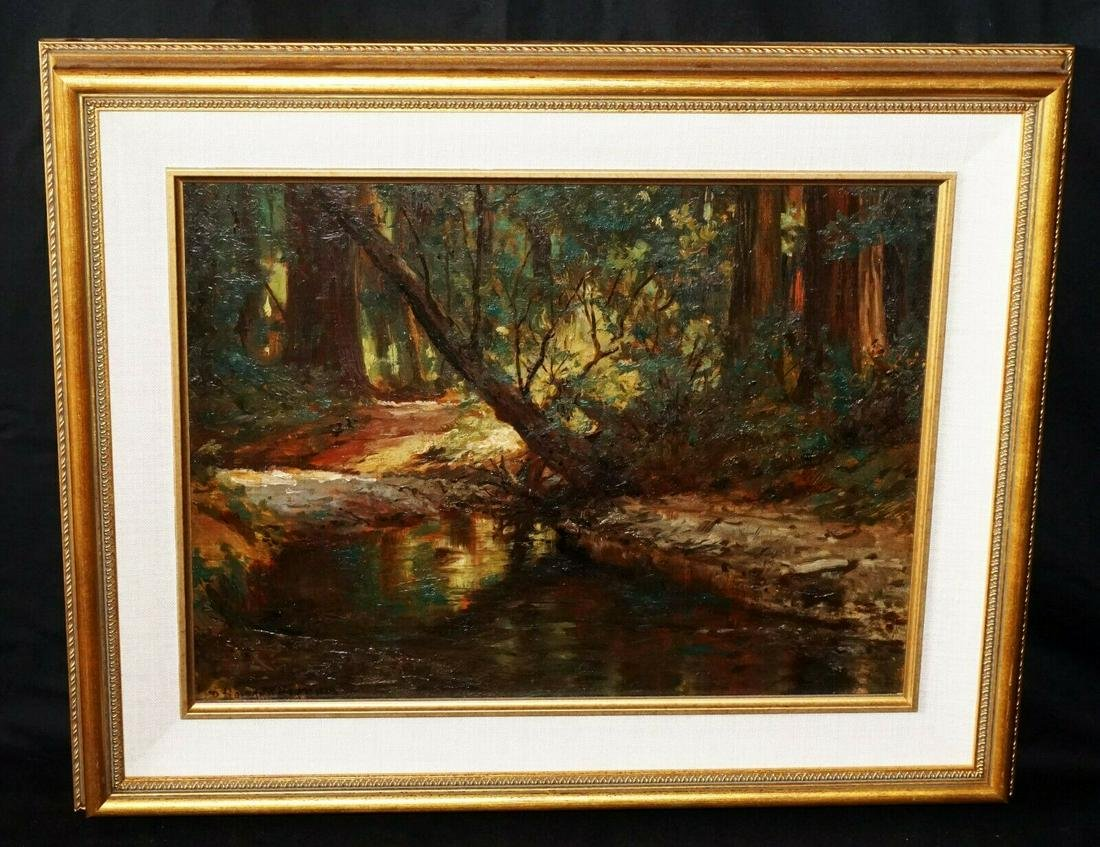 10 Ca. Oil Painting Forest David Howard Hitchcock