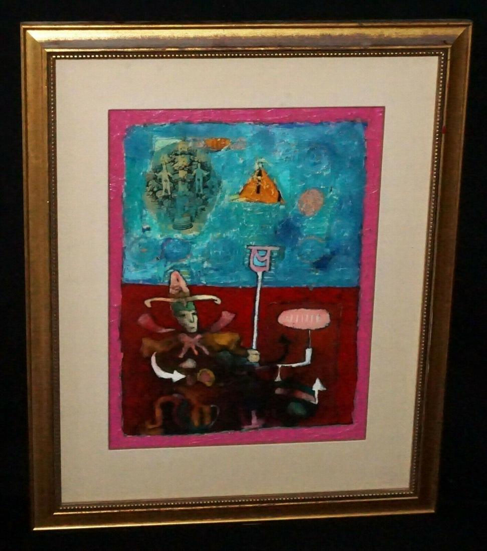Mexican Painting Jester w. Adam & Eve Oscar Bernal